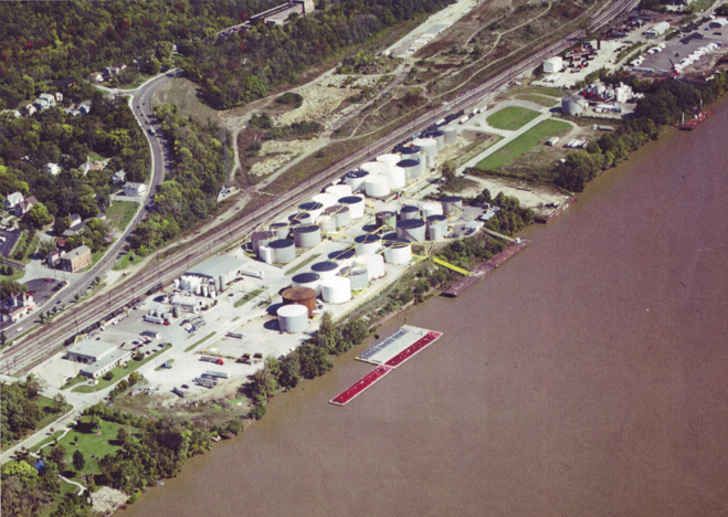 Aerial view of Lindsey Motor Express/Southside River Rail